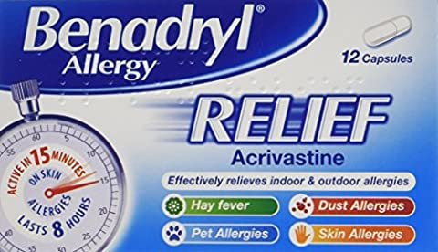 Benadryl 'Effective in 15 Minutes' Allergy Relief, 12 Capsules