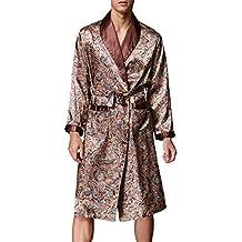 VERNASSA Baño para Hombre,Satén Kimono Pijamas, Bata Albornoz de para Dormir/Casa