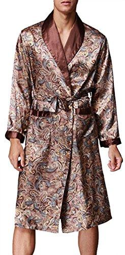 """Edith qi Herren 45""""inch Lange Klassische Satin Schlafanzüge Charmeuse Morgenmantel Homewear , Kimono Bademäntel Robe mit Gürtel, Multicolor -Muster, Größe für L-XXL"""