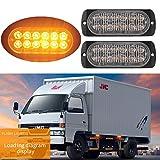 FEZZ 2pcs Luz Estroboscópica 12 LED Advertenvia Emergencia Faro Barra Intermitente Ámbar para Coche Vehículo Camión Remolque Caravana