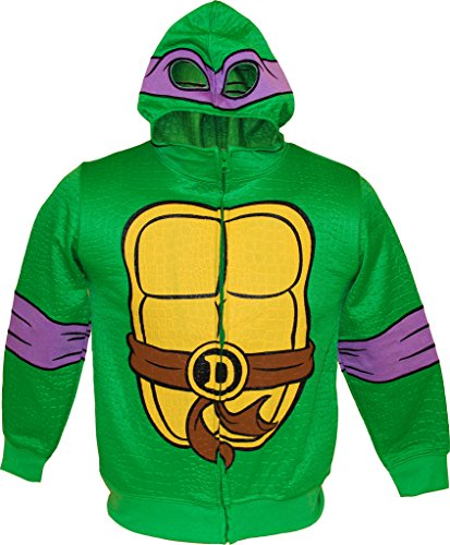TMNT Teenage Mutant Ninja Turtles Reptilian Print Jungen Kostüm Hoodie (Large 10/12, Donatello) (Splinter Kinder Kostüme)