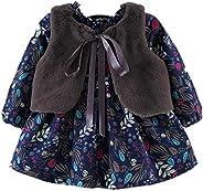 Vestido para Niñas de Invierno Otoño 2 Piezas Vestido de Manga Larga con Estampado Floral + Chaleco de Piel Ab