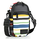 Compact Camera Case Bag for Digital Camera with Rain Cover and Shoulder Sling by USA GEAR - Works With Olympus Pen-F , Stylus SH-3 , Tough TG-870 and Other Compact Cameras - Striped
