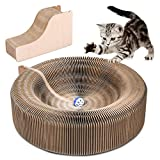YOUTHINK Klappbar Kratzbrett für Katzen mit Katzenminze & Ball Kratzbaum Kratzmöbel Katze Spielzeug aus Wellpappe