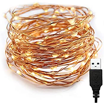 XERGY 10 M,100 LED's(3 Copper Wires, Durable Quality) Waterproof Fairy Decorative String Warm White Light - USB Powered (USB Wire Length - 2 M)