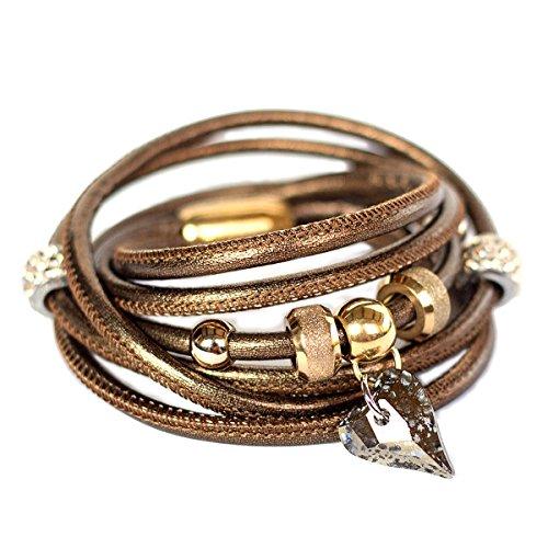 Juwelina Damen Wickelarmband mit Swarovski Wild Herz Anhänger in Gold Patina Edelstahl Magnet Verschluss Nappa-Leder in Bronze dreifach (18) (Crystal Gewickelt-anhänger)