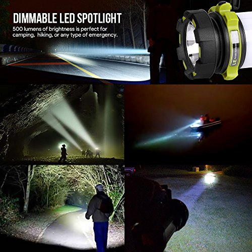 51ybS C8NmL. SS500  - LE Rechargeable CREE LED Torch, 500 Lumen Camping Lantern, Water Resistant Outdoor Searchlight for Emergency, Fishing, Hiking, Power Cuts and More