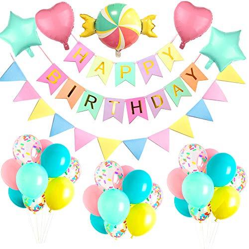 Yansion Geburtstag Deko Happy Birthday Girlande mit riesigem Candy Folienballon, Folie Pentagram und Herzballon für Mädchen Jungen Kinder Hochzeiten, Geburtstag Baby Shower Party Dekorationen