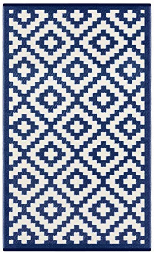 Green Decore Outdoor-Teppich Nirvana, wendbar, leicht, Kunststoff, 120x 180cm, Marineblau/Weiß