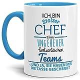 Tasse mit Spruch Chef Innen und Henkel Blau - Kaffeetasse/Mug / Cup - Qualität Made in Germany
