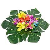 """Comius 40 Pcs 8 """" feuilles de palmier tropicales et 48 Pcs fleurs d'hibiscus en soie Party Decor, Artificielle Monstera plantes feuilles fleurs Hawaiian Luau Party Jungle Beach thème BBQ Birthday Party décorations fournitures"""