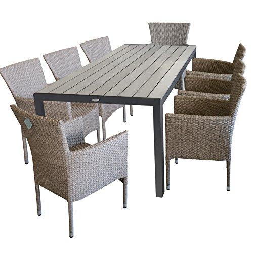 9 pièces ensemble de jardin Table de Jardin, Plateau de Table en Polywood 205x90cm, Gris + 8x Fauteuil de Jardin en rotin tressé Naturel