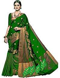Livery Women's Cotton Silk Saree With Blouse Piece (Lt_Kavya_Green,Green,Free Size)