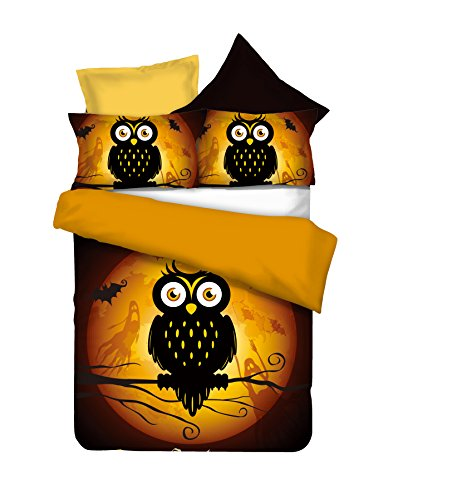 he Kinderbettwäsche mit 1 Kissenbezug 80x80 Eule Eulen Bettwäscheset Bettbezüge Microfaser Bettwäschegarnituren Reißverschluss Halloween Owls Collection Ghost Story orange braun schoko schwarz ()