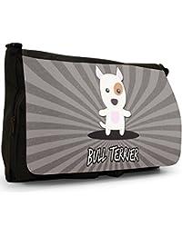 Preisvergleich für Englische Cartoon-Hunde Große Messenger- / Laptop- / Schultasche Schultertasche aus schwarzem Canvas