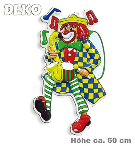Wand-Dekoration Wand-Schmuck Clown Saxxophone Party-Dekoration Clown-Figuren bunt