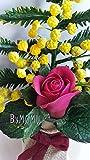 Blumen Kalte Porzellan Miniatur gelbe Mimose Wohnkultur Hand gemacht