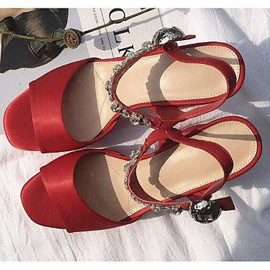 FSCHOOLY Scarpe Donna Seta Primavera Estate Comfort Sandali Chunky Tacco Per Mandorle Casual Rosso Nero Rosso