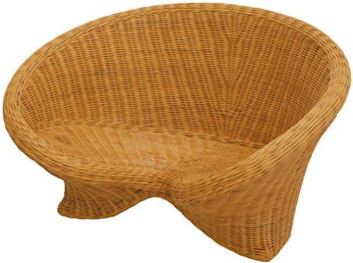 korb.outlet Lotus-Stuhl aus echtem Rattan/Yoga Sitz zur Meditation (Honig)