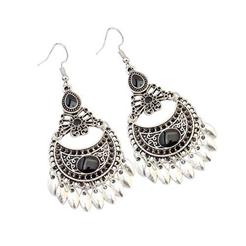 VJGOAL Damen Ohrringe, 1 Paar Frauen Mädchen europäischen und amerikanischen Retro Mode hohlen Crescent Leaf Ohrringe Frau (Schwarz)