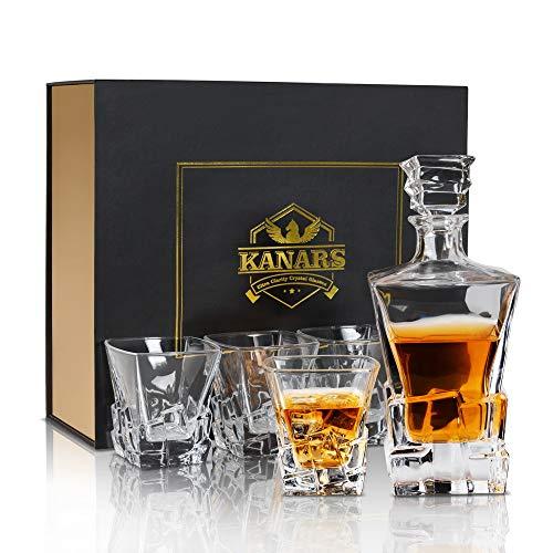 KANARS Carafe Whisky, Décanter Cristal, 800ml Bouteille avec 4X 300ml Verre à Whiskey, Belle Boîte Cadea, Lot de 5 Pièces