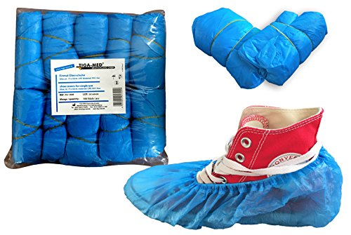 Überschuhe Einmal CPE OP Schuhüberzieher 100 Stück Marke Tiga-Med blau Einmalschuhe Überziehschuhe Einweg Schuhüberzug (Einweg-socken)