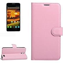 Para Alcatel One Touch Idol X / 6032 / OT-6032 Patrón de textura Litchi horizontal Flip PU funda de cuero con el titular y ranuras para tarjetas y cartera by diebelleu ( Color : Pink )