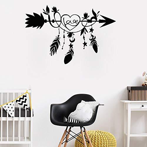Neues Design Liebe Pfeil Wandaufkleber Für Kinderzimmer Vinyl Herz Federn Ethnischen Stil Wohnkultur Aufkleber Monochrome Wandbild