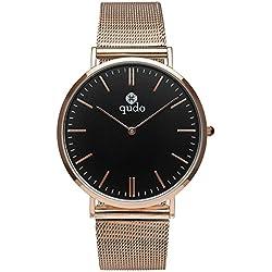 Qudo Ladies Watch 4s/Silvertone Black 801048