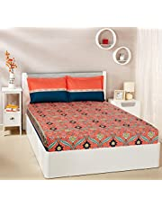 Solimo Imperial Trail 144 TC 100% Cotton Double Bedsheet with 2 Pillow Covers, Coral Pink and Deep Teal