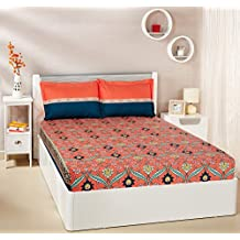 Amazon Brand - Solimo Imperial Trail 144 TC 100% Cotton Double Bedsheet with 2 Pillow Covers, Coral Pink and Deep Teal
