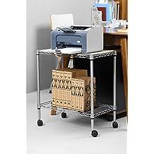 Soporte de ordenador para debajo del escritorio - Motor Caretilla con 2 Estantes de Metal (Plata)