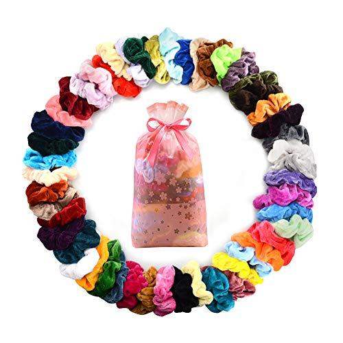 RLBUNZ 50 Stück Haargummis Scrunchies Samt, 50 Farben Elastische Haargummi Haarbänder Gummibänder, Pferdeschwanz Haarband Haaschmuck für Mädchen Frauen -