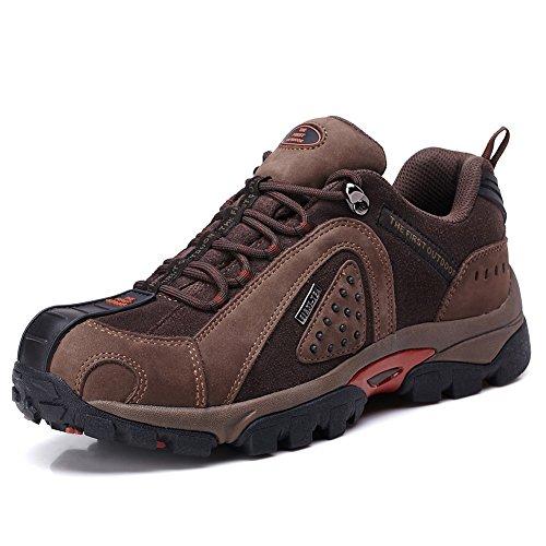 TFO Herren Wasserdichte Trekkingschuhe & Wanderhalbschuhe Anti-Rutsch Bergschuhe & Outdoor Schuhe mit Atmungsaktiver Einlegesohle, Braun, 44 EU (Outdoor-synthetik-leder)