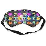 Suminla-Home Schlafmaske Regenbogen Blume Alien Natur Silk Eye Mask Cover mit verstellbarem Riemen
