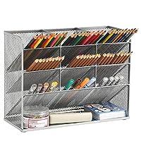 منظم مكتب شبكي ماربراس، حامل أقلام متعدد الوظائف، منظم أقلام للمكتب، منظم المكتبية، حامل تخزين لللوازم الفنية المكتبية للمدرسة والمنزل والمكتب (فضي)