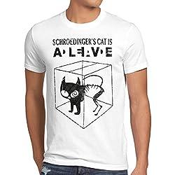 style3 Gato de Schrödinger Camiseta para hombre T-Shirt sheldon, Talla:S;Color:Blanco