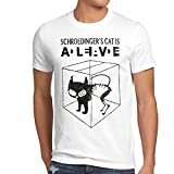 style3 Gato de Schrödinger Camiseta para hombre T-Shirt sheldon, Talla:2XL;Color:Blanco