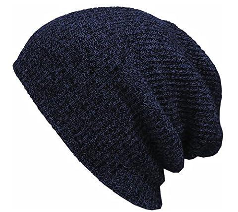 Hommes Hip-hop Tricot Automne Et Hiver En Plein Air Double Chaude Bonnet Chapeau étanche Au Vent Slouch Stretch Cap,Blue-30*17.5cm