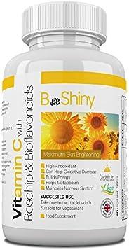 BeShiny Vitamine C 1000 mg Maximaal bleken van de huid met rozenbottels en bioflavonoïden Supplement voor immu