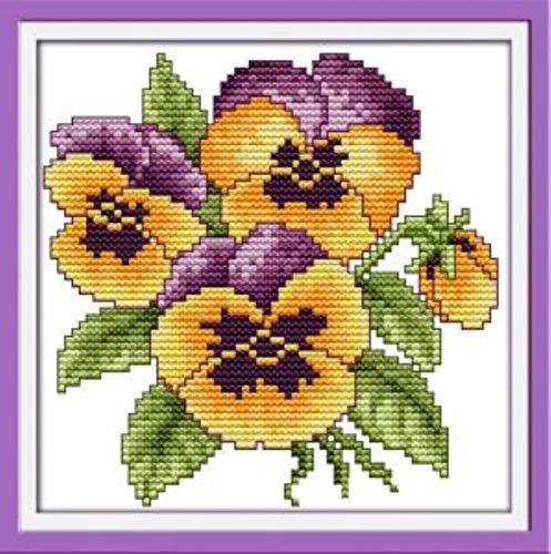 Kreuzstichmuster Gemälde Blume des Glücks DIY Dmc Handarbeitsgewebe Leinwand Kreuzstich Kits Für Stickerei Wohnkultur 22 cm * 22 cm (11CT) - Blume 1,11CT -