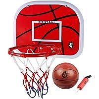 Mini juego de baloncesto,VicPow Mini Tablero de baloncesto colgando con bola y bomba para niños