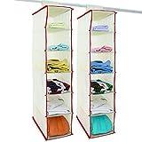 2x Hänge-Aufbewahrung Hängeregal mit 6 Fächer HxBxT 72cm x 16cm x 28cm beige/rot - Kleiderschrank Aufbewahrung Organizer Aufbewahrungssystem