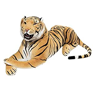 BRUBAKER - Peluche géante marron Tigre avec des dents - 130 cm