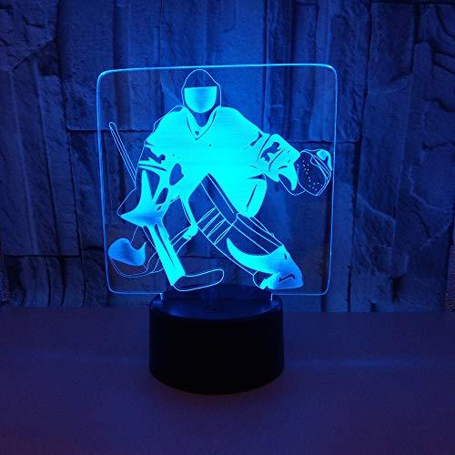 BFMBCHDJ Neue Ice Player 3D Licht Hockey Player Bunte Touch 3D Visuelle Licht Kreative Geschenk Atmosphäre 3D Kleine Tischlampe A1 Schwarz Basis