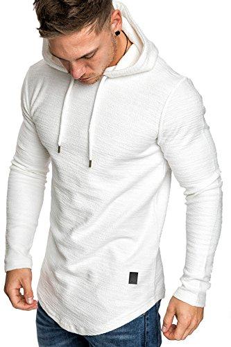 Amaci&Sons Herren Oversize Kapuzenpullover Hoodie Sweater Pullover Sweatshirt 4011 Weiß M