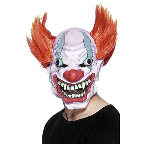Wahnsinniger Horror Clown Halloween Maske mit roten Haaren aus natürlichem Latex (Chucky Maske Kostüm)