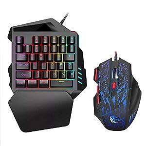 Einhändige Gaming-Tastatur-Maus, USB für Linkshänder, mechanische Haptik und kleine kompakte Mini 35 Tasten, tragbare Gaming-Tastatur mit Farbiger LED-Hintergrundbeleuchtung