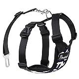 Pawaboo Cinturón De Seguridad de Perro - Adjustable Vest/Malla Harness Car Safety para Perros de 33 LBS - 55 LBS, Talla L, Azul Marino & Blanco