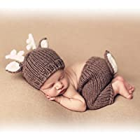 Ateid Neugeborene Fotografie Kostüm Kreativ Baby Fotoshooting Set Braun Hirsch